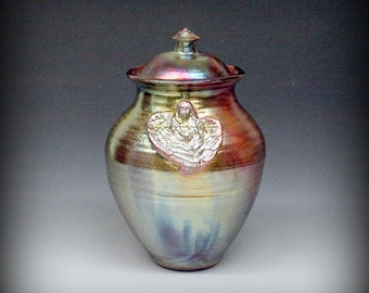Raku Urn or Lidded Vase with Angel in Metallic and Iridescent Colors