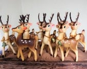 VINTAGE set of 8 plastic reindeer - Rudolph and his friends - made in Japan  - rare set