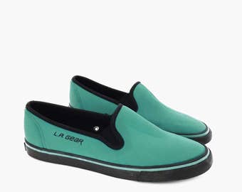 80's vintage BOAT SHOES // teal green skimmers sneakers // stretchy neoprene deck shoes // loafers by L.A. GEAR // women's size 7