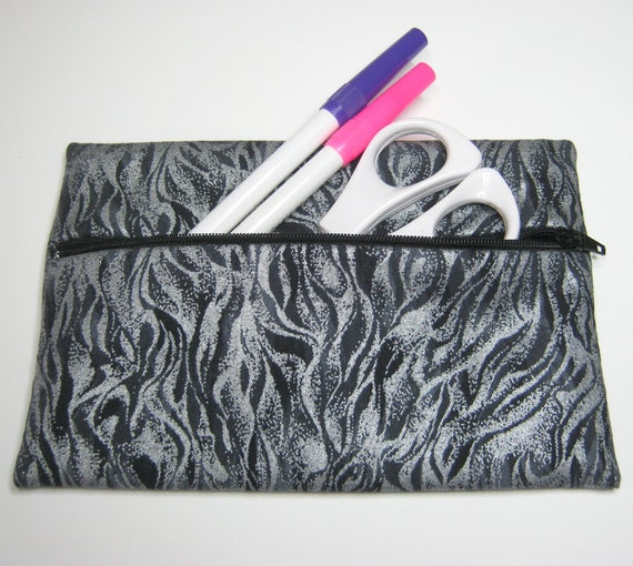 SQUISHYBAG: Metallic/pearlescent printed steely flames fabric, pencil case, make-up or cosmetics bag.  Fully lined.
