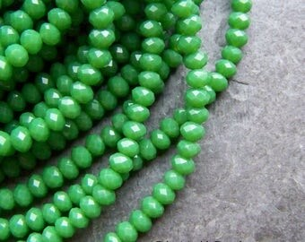 Chinese Crystal Beads, Crystal Rondelles, Green Beads, Opaque Green, Tassel Beads, Rondelle Beads, Boho Bead, 18 Inch Strand, 4mm, 138 Beads