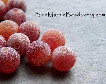 Glass Beads, Faux Gemstone, Czech Glass Beads, Rare Beads, Vintage Beads, Agate Bead, Fire Agate Bead, Round Bead, Boho Beads, 8mm, 25 Beads