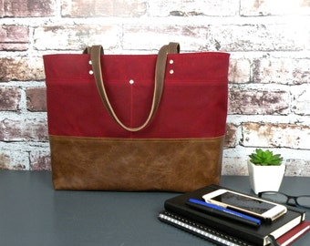 Ruby Red Tote Bag, Waxed Canvas Tote, Leather Bottom Bag, Sturdy Work Bag, Computer Tote, Large Commuter Bag, Knitting Bag, Large Purse