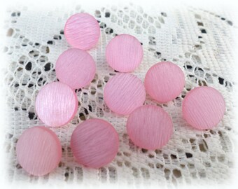 10 PINK Vintage SHANK Buttons from Muscatine, Iowa