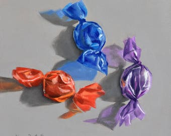 Candies 6x6 original oil painting realistic still life by Nance Danforth