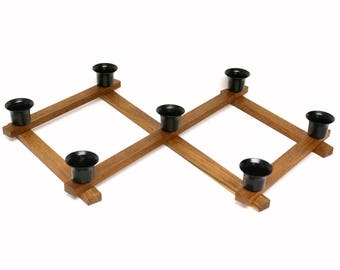 Wooden Accordion Candle Holder Centerpiece with Seven Black Metal Candle Cups