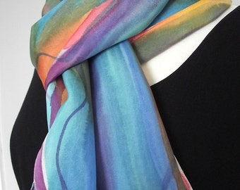 """Hand Painted Silk Habotai Scarf, Wavy Bands of Blue, Turquoise, Orange, Purple, Gold and Rust 14 x 72"""""""