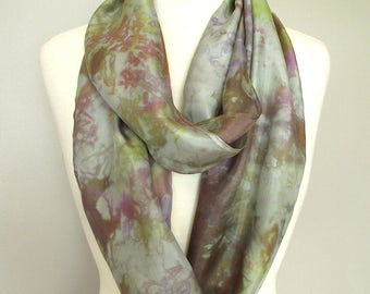 """Hand Dyed Silk Infinity Scarf - 11 x 76"""", Gray with Olive, Bronze, Rose and Purple Marbling,  Long Infinity Loop"""