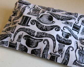 Small pouch in quirky mustache print