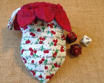 Dice bag cherry print with petals