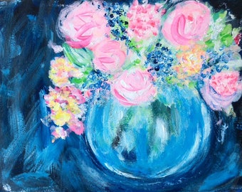 Beautiful Blooms Acrylic Painting Abstract Style, Painted on 360GSM Art Paper 11 x 15 inch, A4