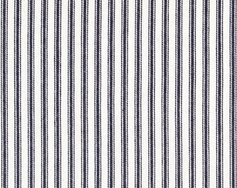 Waverly Navy Woven Ticking Kitchen Cafe Curtains - 2 panels/ 1 pair - Custom sizes and matching valance available