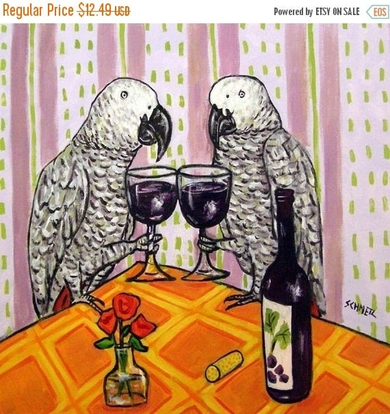 20% off SALE African Grey parrot at the Wine Bar Bird Art Tile Coaster JSCHMETZ MODERN abstract folk pop art Americana gift