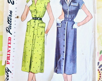 Vintage 1950s Womens Button Front Dress Pattern = Simplicity 3258