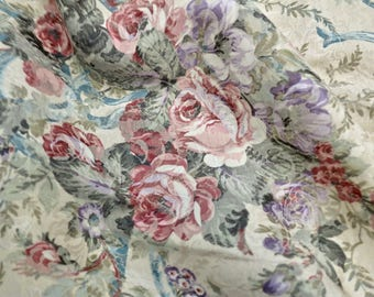 Vintage Roses and Ribbons on Beige Brocade Fabric Yardage