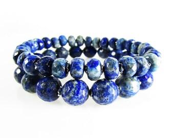 Blue Lapis Stretch Bracelet Set, Genuine Gemstone Bracelet Set, Lapis Bracelet