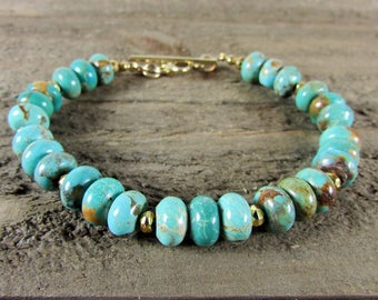 Real Turquoise Bracelet, Turquoise and Gold Bracelet, Kingman Mine Turquoise, Green-Blue Turquoise Bracelet