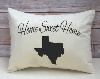State pillow, State Pride, Personalized state, Texas, Location, state gift, Home Sweet Home, Relocation, moving gift, going away -state-