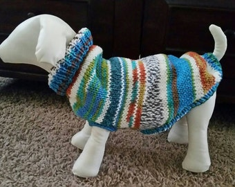 Hand Knit Dog Sweater - Medium