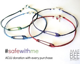 Safety pin bracelet safewithme bracelets safety pin jewelry - 2 Dollar DONATION to ACLU