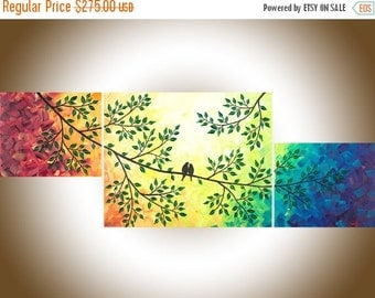 "Contemporary wall art rainbow color art set of 3 Painting acrylic love birds painting canvas painting ""The Sun Shines on Us"" by qiqigallery"