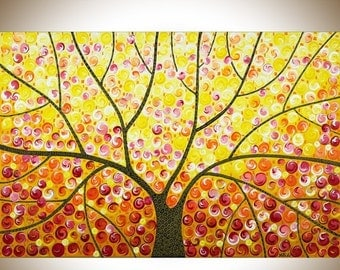 """Original abstract painting colorful painting red yellow orange wall art Whimsica art canvas art """"sunshine through the mocha tree 3"""" by"""