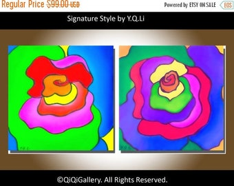 "Rainbow color Abstract painting Original artwork Oil Painting still life 2 paintings ""Abstract rainbow Roses"" By qiqigallery"