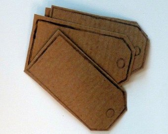 HALF PRICE SALE Set of 10 hand printed parcel tag kraft paper stickers in kraft brown.  Self adhesive labels, gift tags, bookplates, packagi