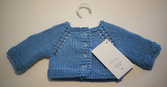 Raglan-Sleeve Cardigan for American Girl or 18-inch Doll - COTTON - available in medium blue, royal blue, yellow and white