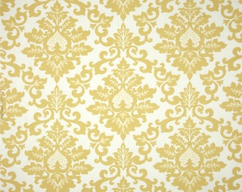 Cecilia Saffron Yellow Floral Fabric - White - Yellow -  Premier Prints Fabrics 1/2 yard or more - Fabric by the 1/2 Yard