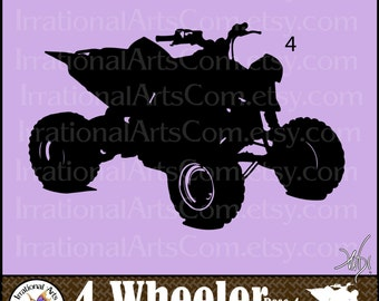 4 Wheelers Silhouettes Pose 4 - 1 EPS & SVG Vinyl Ready Images and 1 PNG clipart graphics files AtV vehicles [Instant Download]