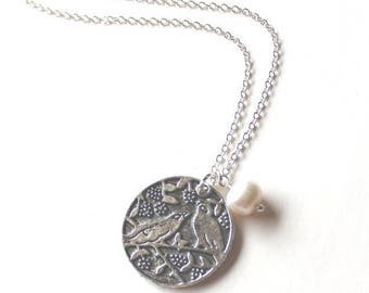 Clearance Sale Love birds on a branch pendant and white pearl silver necklace