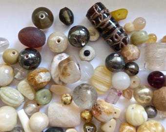 Vintage Mix of Assorted Neutral Color Glass Beads (100g) OOAK    (N)
