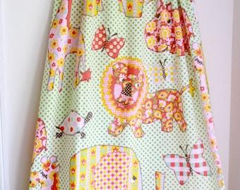 Vintage twin sheet set girly cute zoo animals polka dots