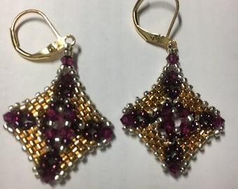 Delicate Diamonds Pierced Wire Seed Bead Woven Earrings