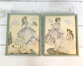 Reserved for Fortunecat-pls do not purchase-Pair of Vintage Victorian Lady Framed Prints- 8 x 10