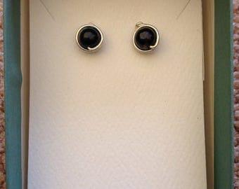 Deep Blue Plum Freshwater Pearl Stud Earrings, Argentium Sterling Silver