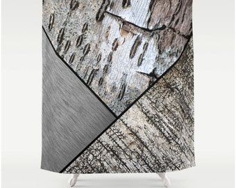 Fabric Shower Curtain in Digital Birch Bark and Brushed Silver Metal Patch Design