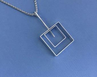 Square in Square Silver Pendant