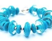 Turquoise Blue Bracelet - Blue Statement Bracelet - Turquoise Statement Bracelet - Chunky Bracelet - Glass Bead Bracelet - Lampwork Bracelet