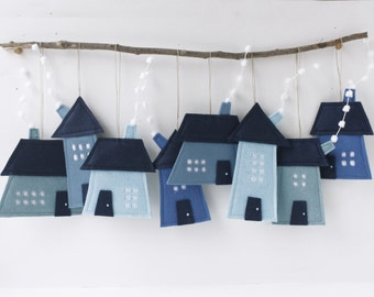 Houses Ornaments Group of eight  Felt Decorative Gift for hanging nursery decor  Wall Art Blue shades Kids Room Decor It's a boy Sweet Home