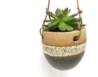 Hanging planter flower pot ceramic handmade pottery