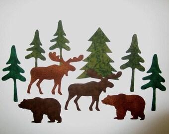 10 Woodland Large Set Iron On Appliques Moose Bears Trees