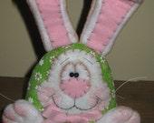 Primitive Handcrafted Spring or Easter Bunny Rabbit Shelf Sitter Bowl Filler Ornie Tuck Ornament