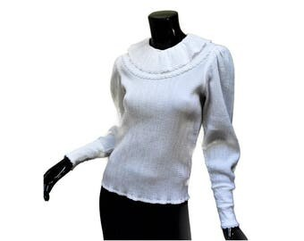 Vintage Pierrot Collar White Crinkle Cotton Top - Miss Antonette by Franz Haushofer - EU 34 Small Medium - Gathered Sleeves - Platter