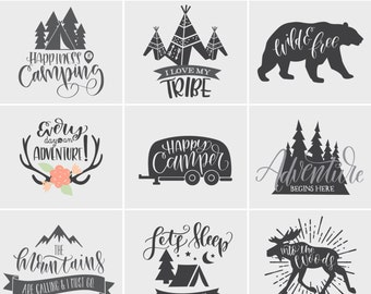 Camping SVG Files Bundle with Family Quotes