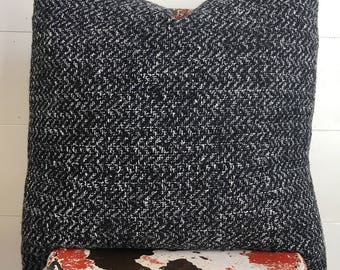 Black & white very soft textured wool pillow cover / masculine / modern / farmhouse
