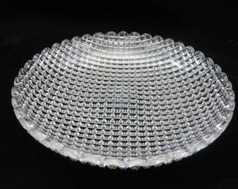 American Brilliant Cut Glass Bowl - Strawberry Diamond Pattern, Scalloped Edge, Shallow Dish