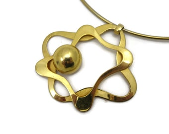 Mid Century Modern Jewelry Necklace - Atomic Pendant, Gold Tone Ring Necklace, Costume Jewelry