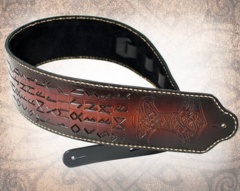Wide Leather Guitar Strap - Mjölnir and the Runes